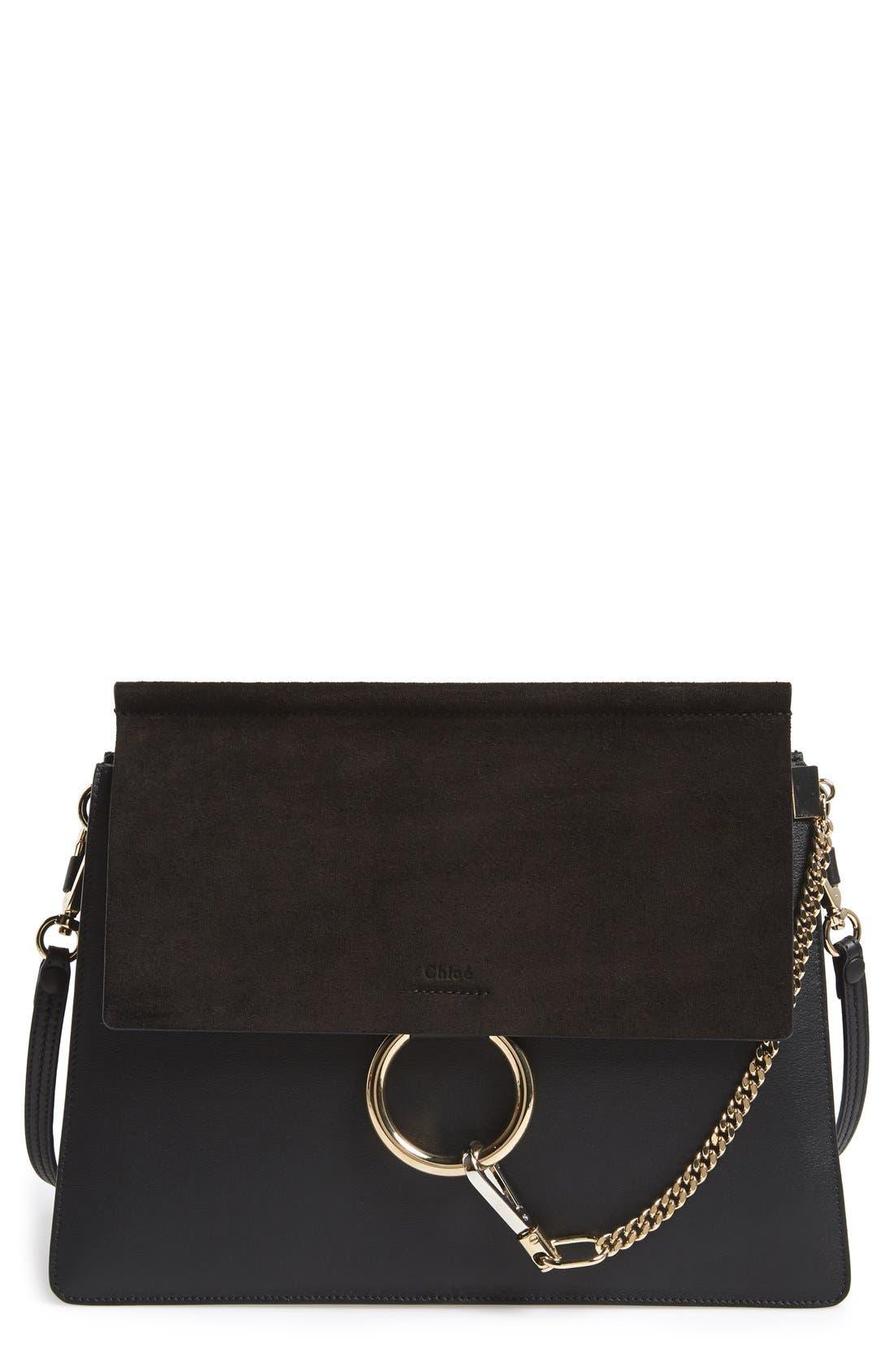 Alternate Image 1 Selected - Chloé 'Faye' Leather & Suede Shoulder Bag