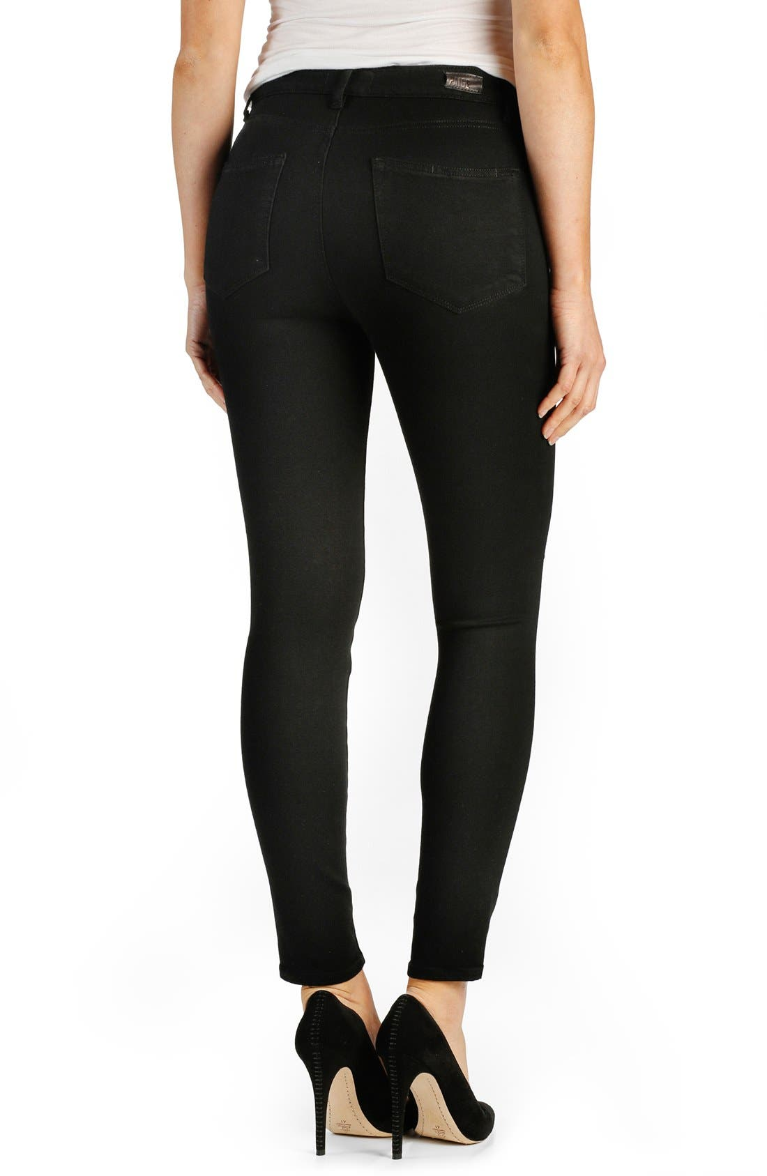 Alternate Image 2  - PAIGE 'Transcend - Hoxton' High Rise Destroyed Ankle Ultra Skinny Jeans (Black Shadow)