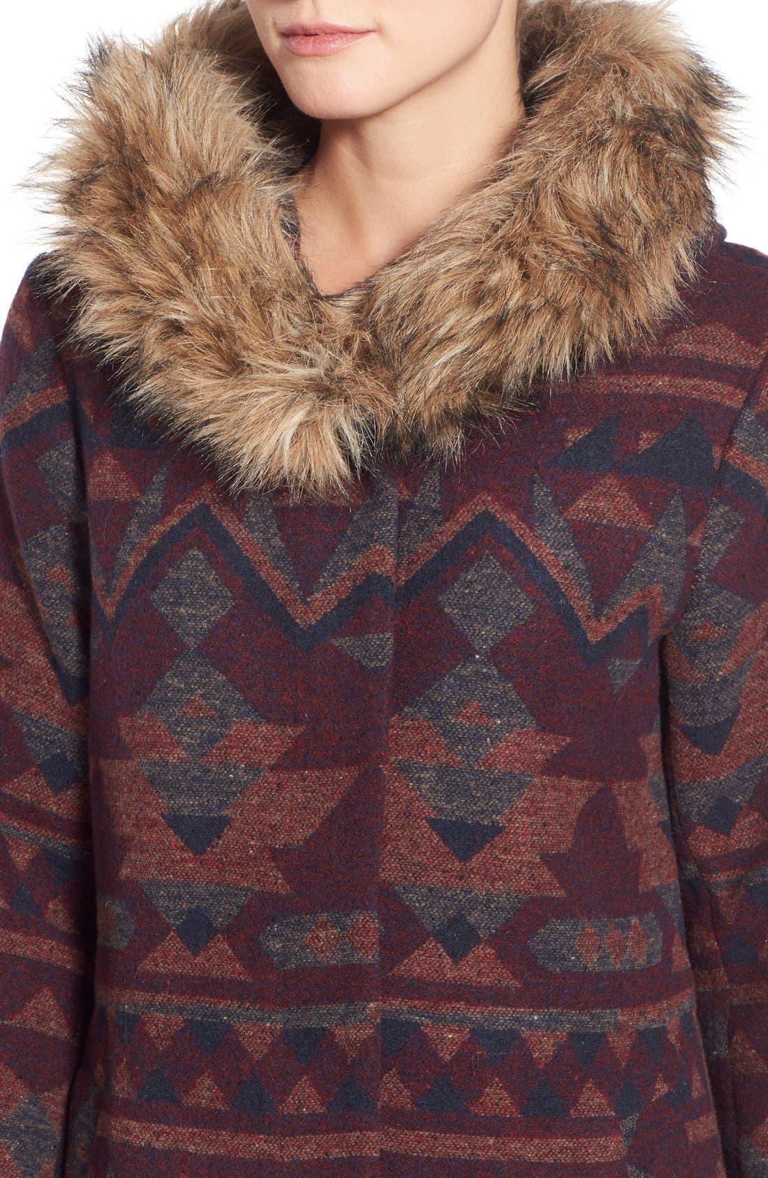 Alternate Image 4  - BB Dakota Faux Fur Trim Print Hooded Coat