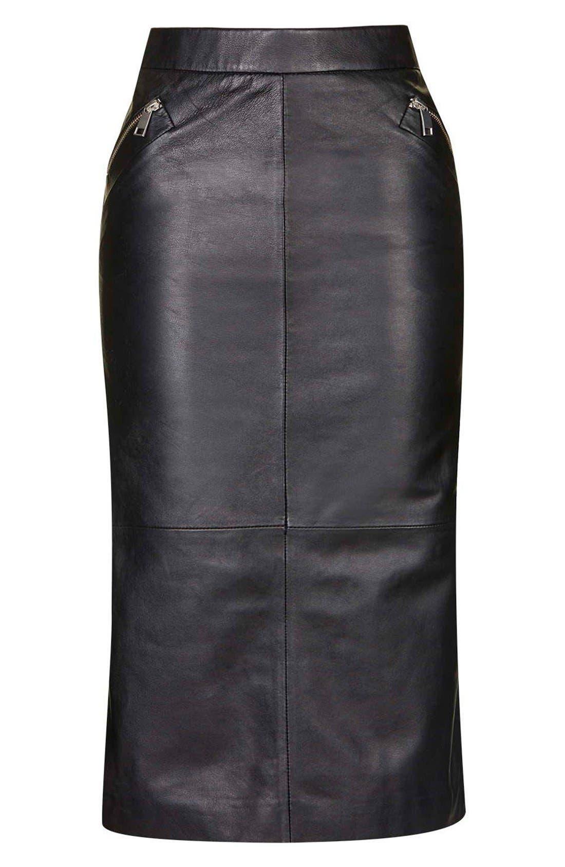 Alternate Image 4  - Topshop Leather Midi Skirt