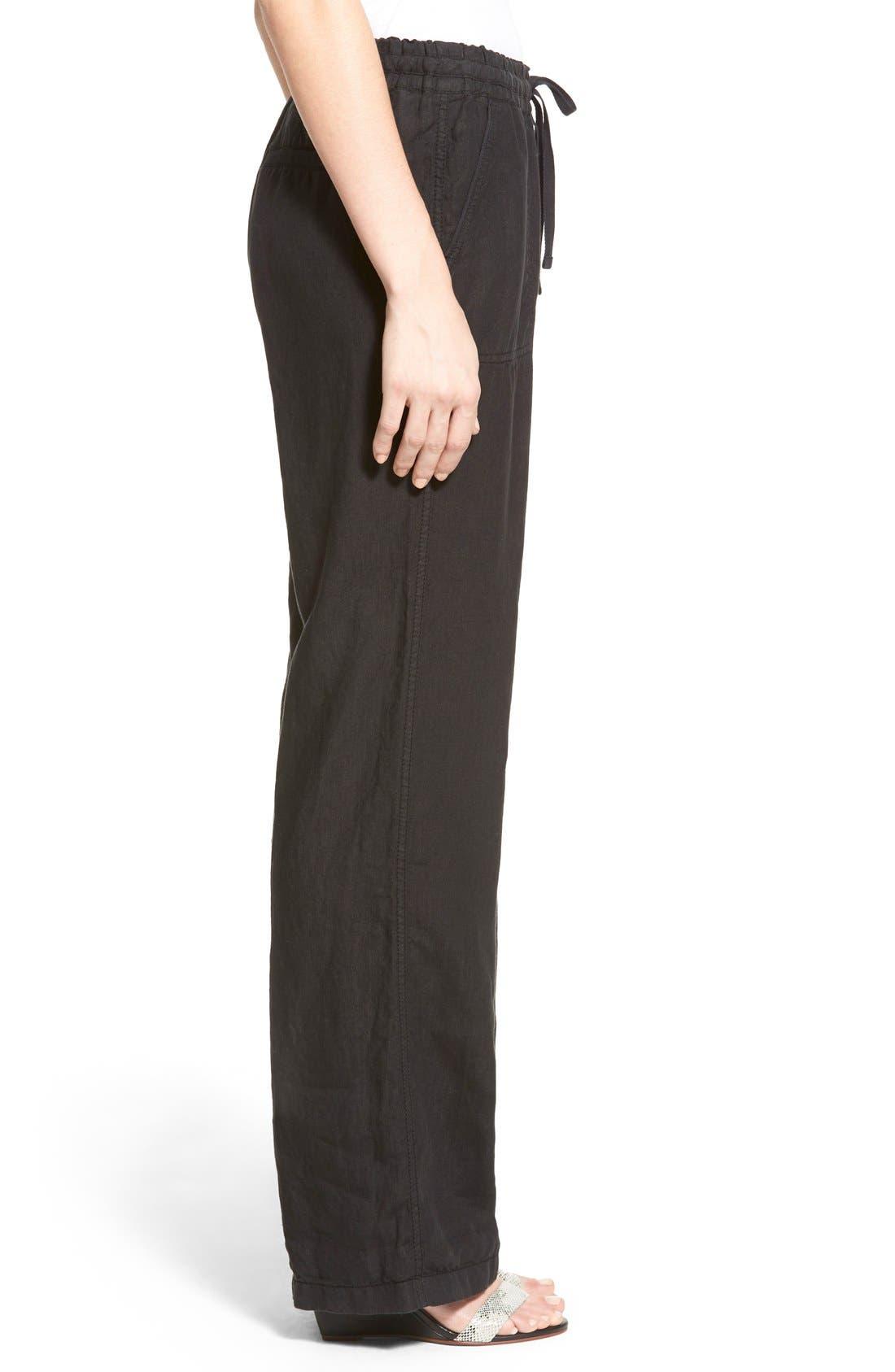 Alternate Image 3  - Caslon® Drawstring Linen Pants (Regular & Petite)