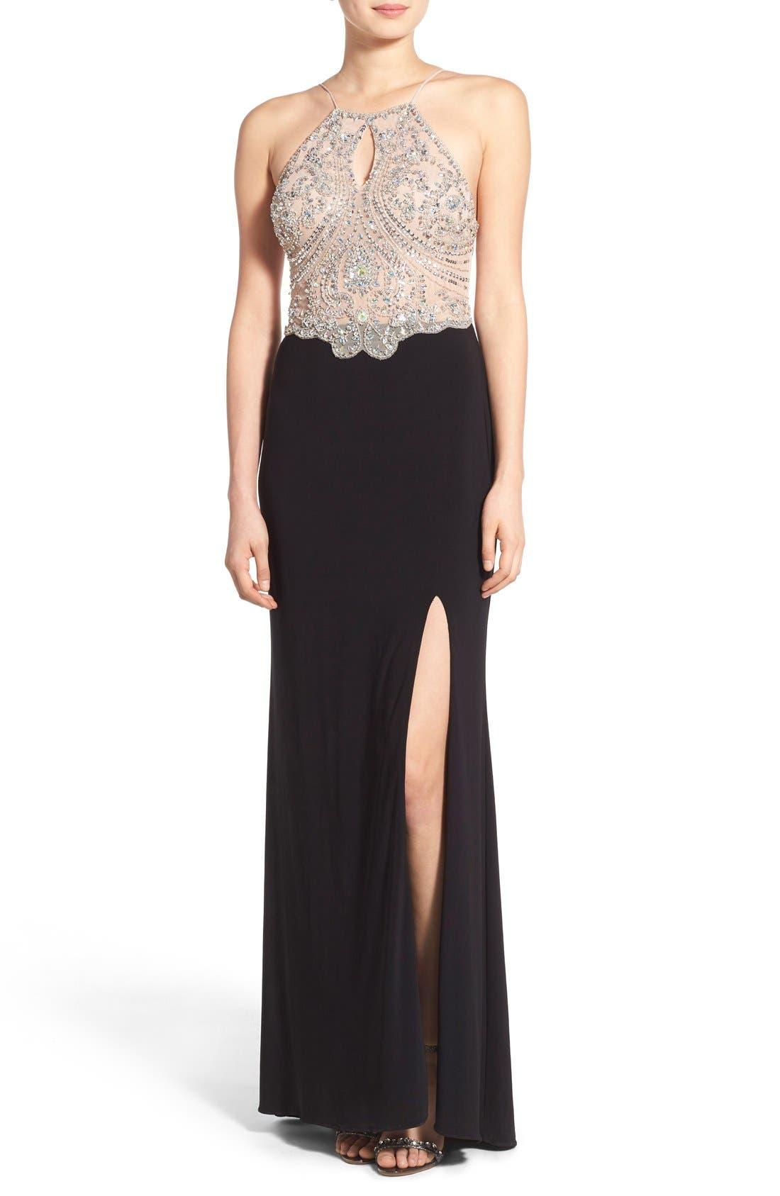 Blondie Nites Embellished Keyhole Front Halter Gown