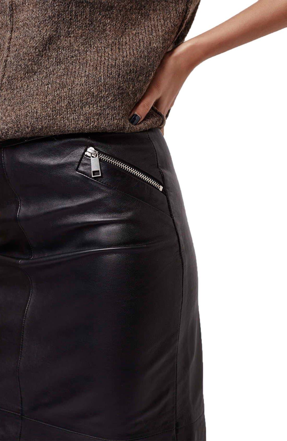 Alternate Image 5  - Topshop Leather Midi Skirt