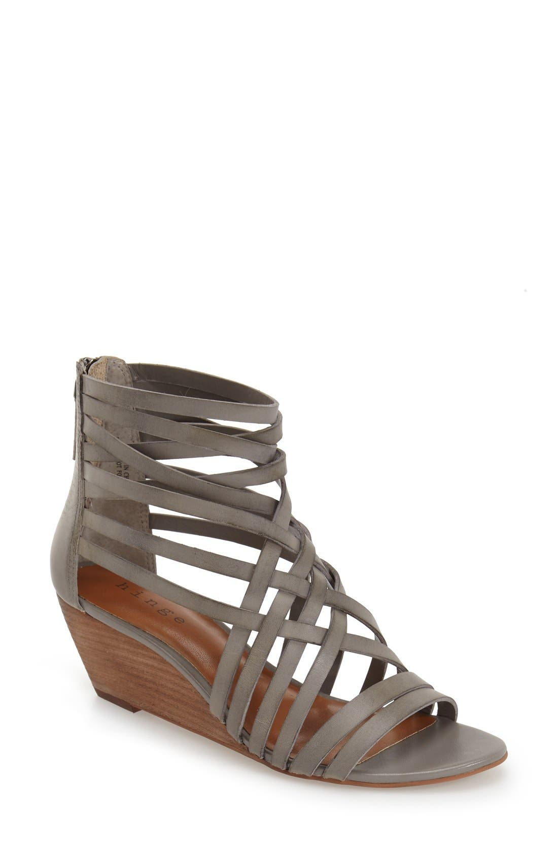 Main Image - Hinge 'Neta' Leather Wedge Sandal (Women)