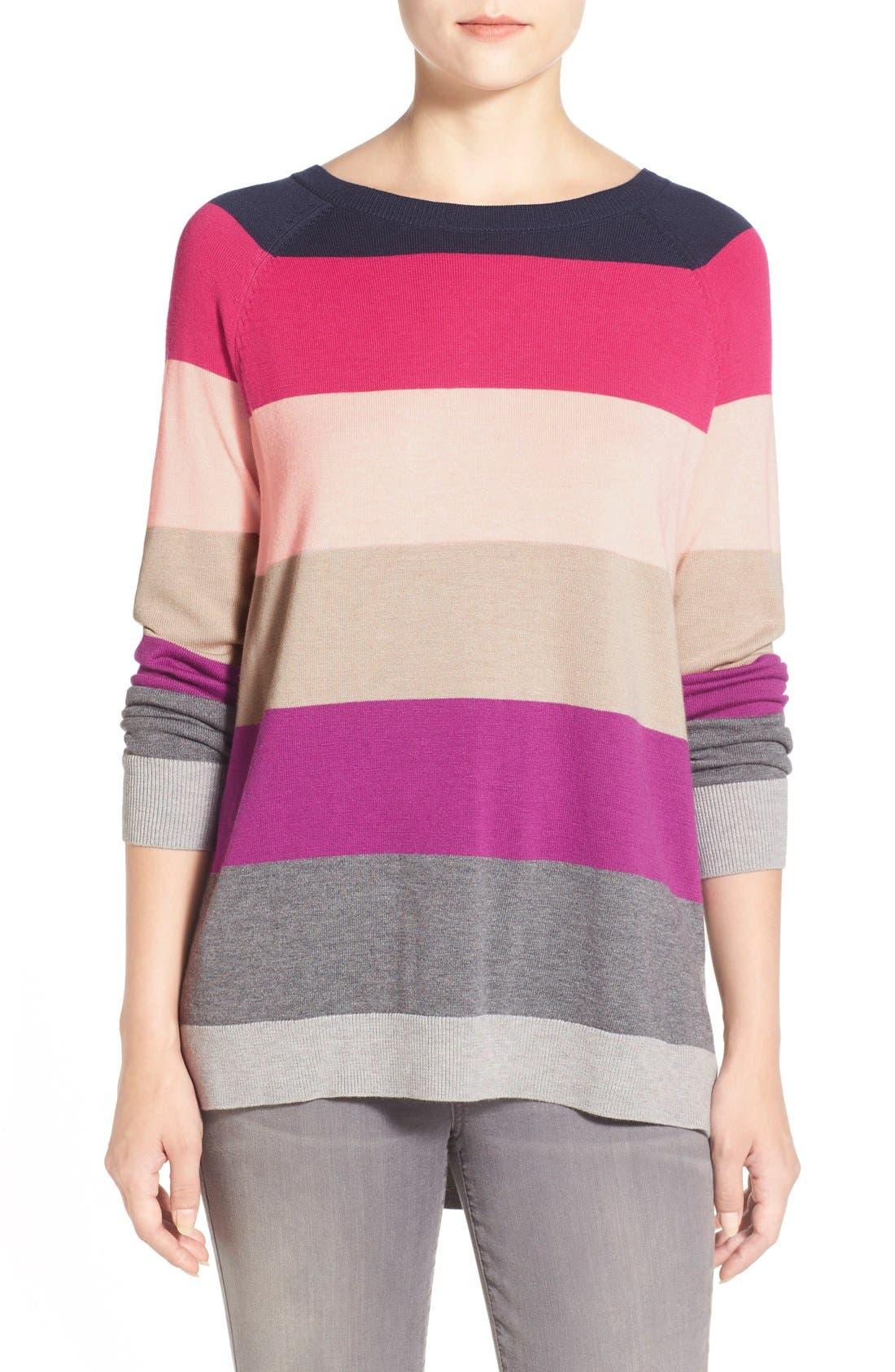 Alternate Image 1 Selected - Caslon® Raglan Crewneck Sweater (Regular & Petite)