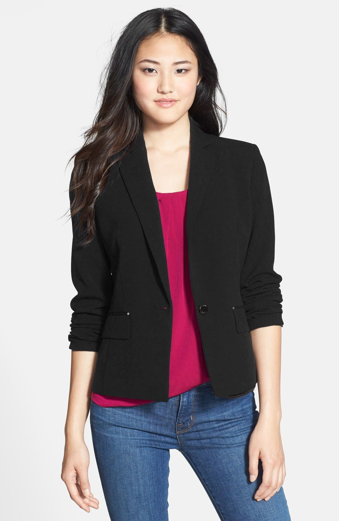 Alternate Image 1 Selected - Anne Klein One-Button Blazer (Petite)