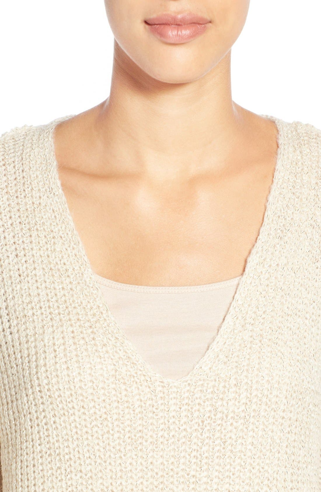 Alternate Image 4  - Two by Vince Camuto Metallic Flecked V-Neck Sweater