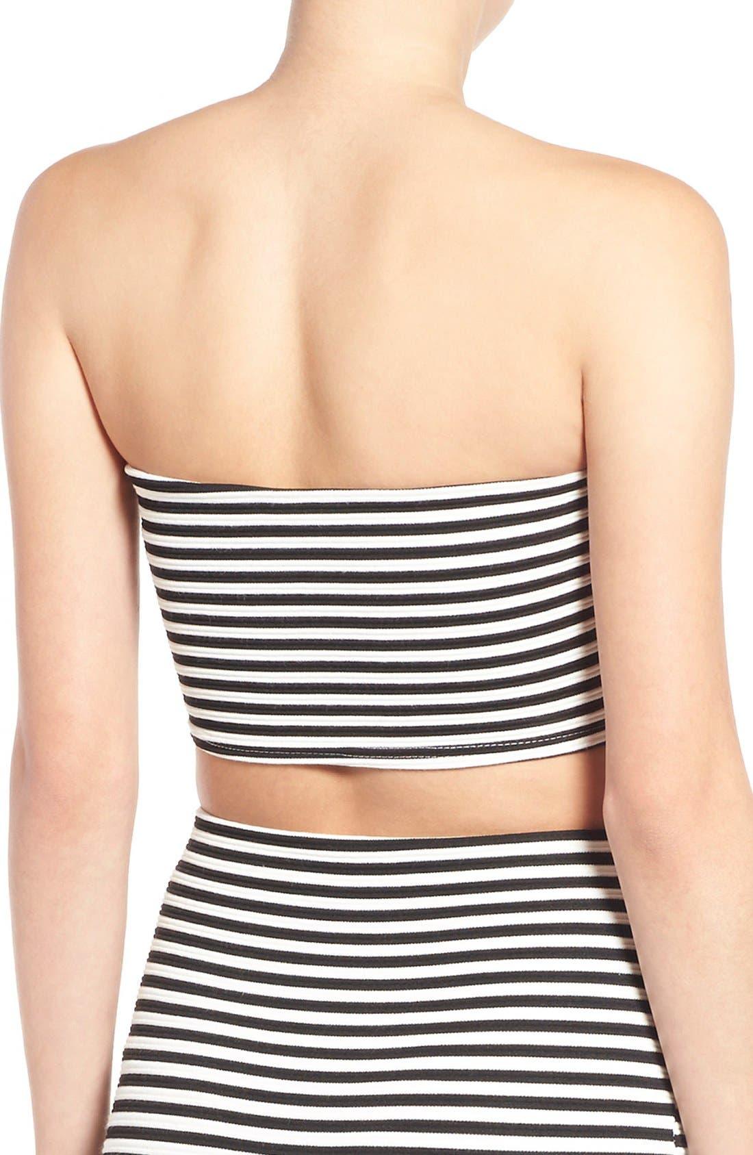 Alternate Image 2  - Missguided Stripe Bandeau Crop Top