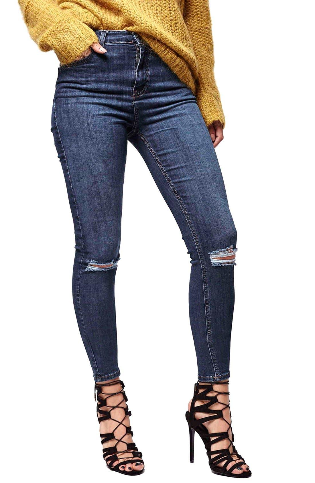 Alternate Image 1 Selected - Topshop Moto 'Jamie' Ripped Skinny Jeans