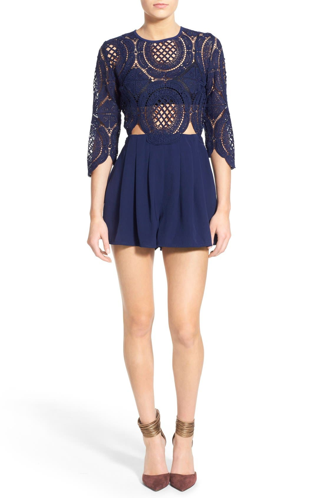 Main Image - Missguided Crochet Lace Romper