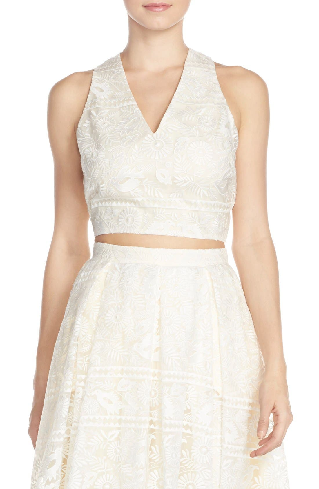 Alternate Image 1 Selected - Paper Crown by Lauren Conrad Organza Lace V-Neck Top
