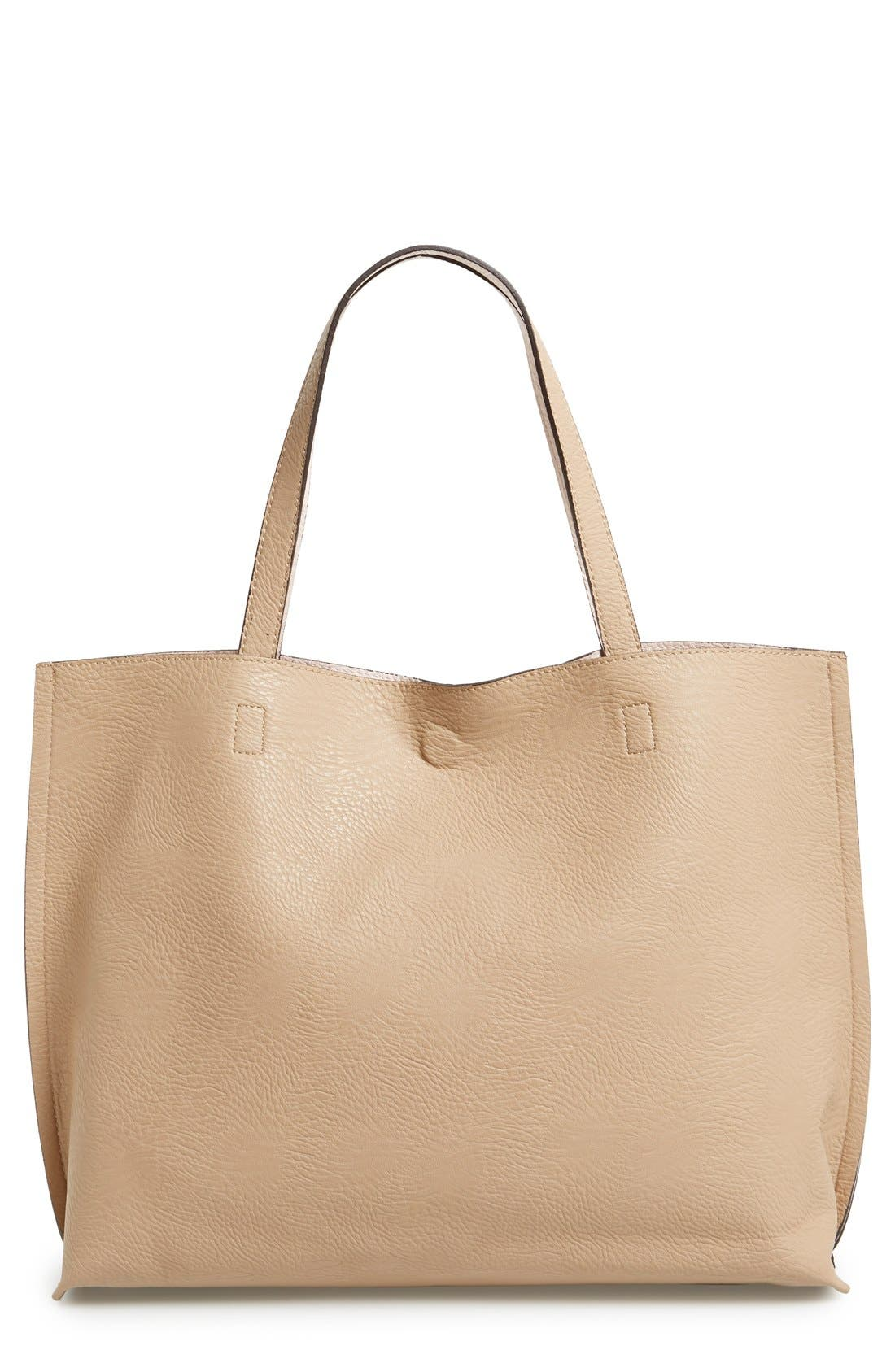 Alternate Image 1 Selected - Street Level Reversible Faux Leather Tote & Wristlet
