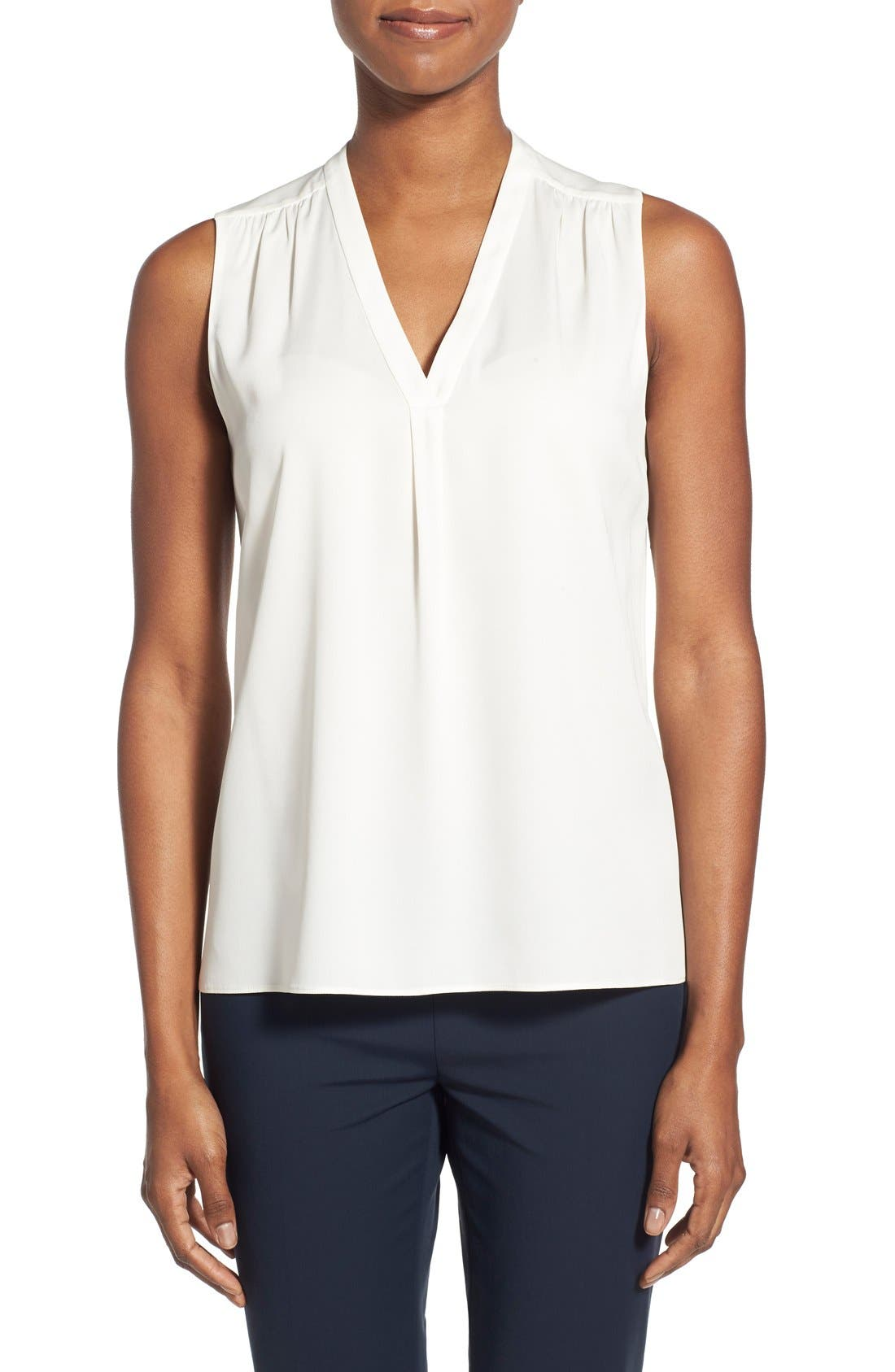 CLASSIQUES ENTIER® Stretch Silk Shirred V-Neck Top