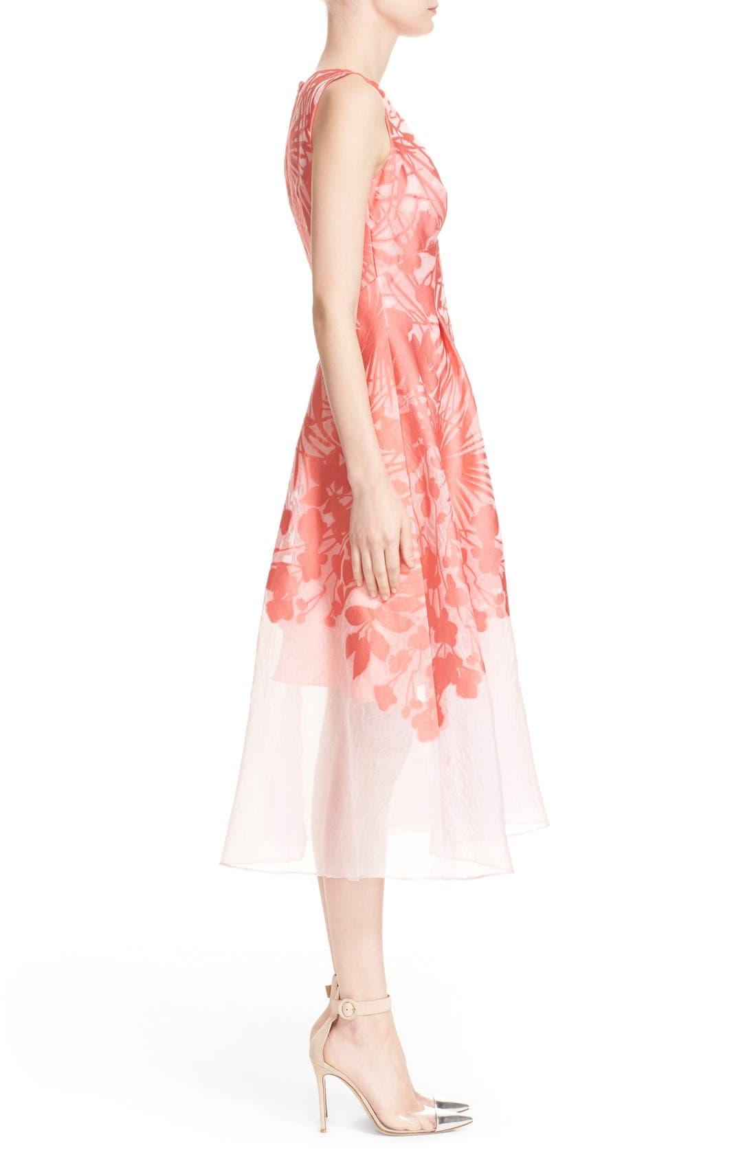 Alternate Image 4  - Lela Rose Floral Organza V-Neck Dress
