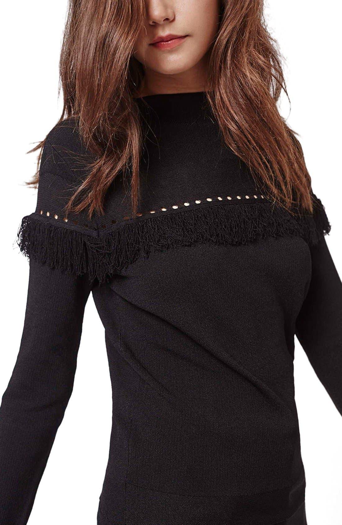 Alternate Image 5  - Topshop Perforated Fringe Sweater