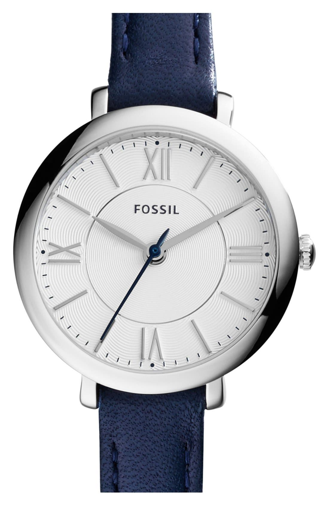 Main Image - Fossil 'Jacqueline' Leather Strap Watch, 26mm