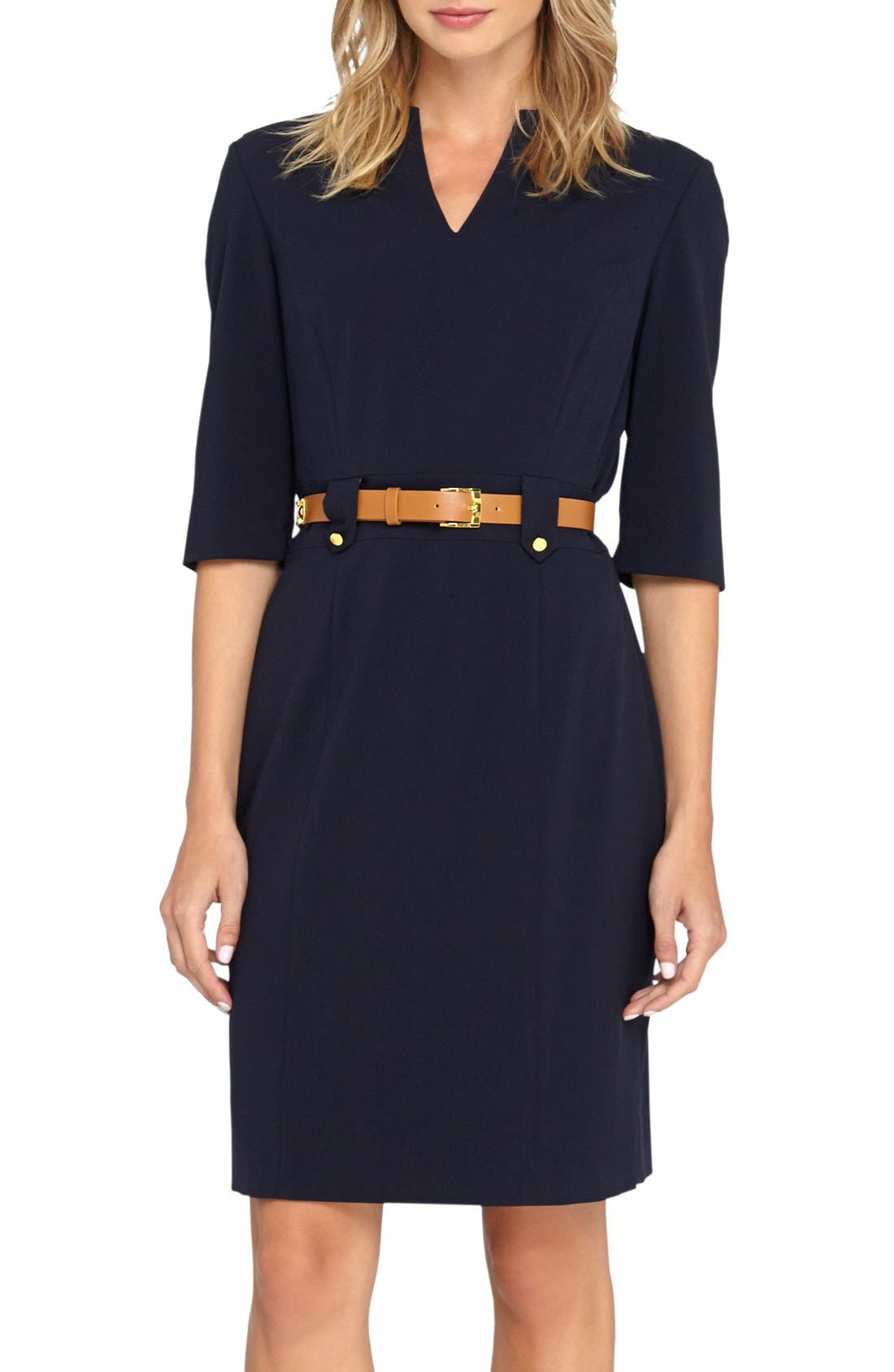 Alternate Image 1 Selected - Tahari Belted Stretch Sheath Dress