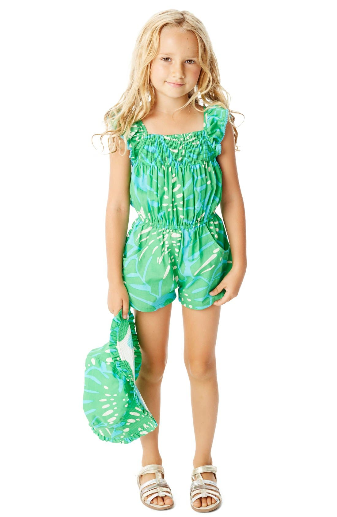 Alternate Image 4  - Masalababy 'Zuri - Island Palm' Flutter Sleeve Romper (Toddler Girls, Little Girls & Big Girls)