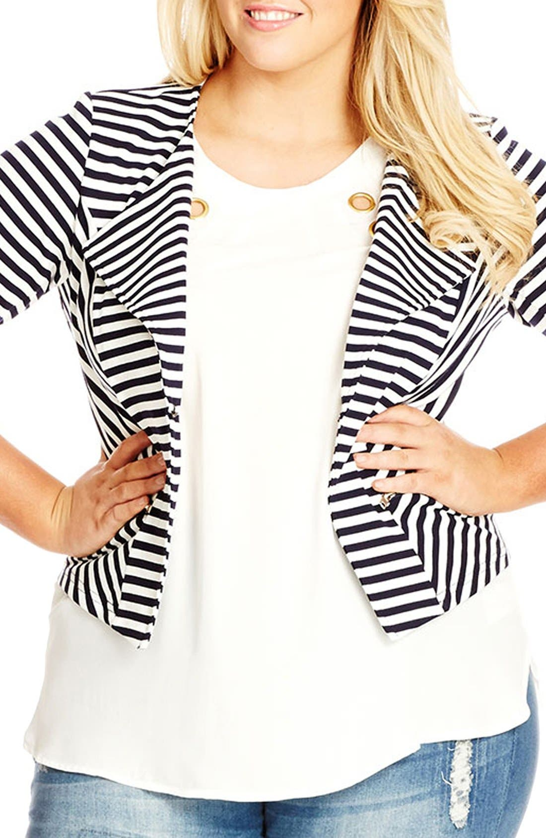 City Chic Zip Detail Stripe Ponte Blazer (Plus Size)