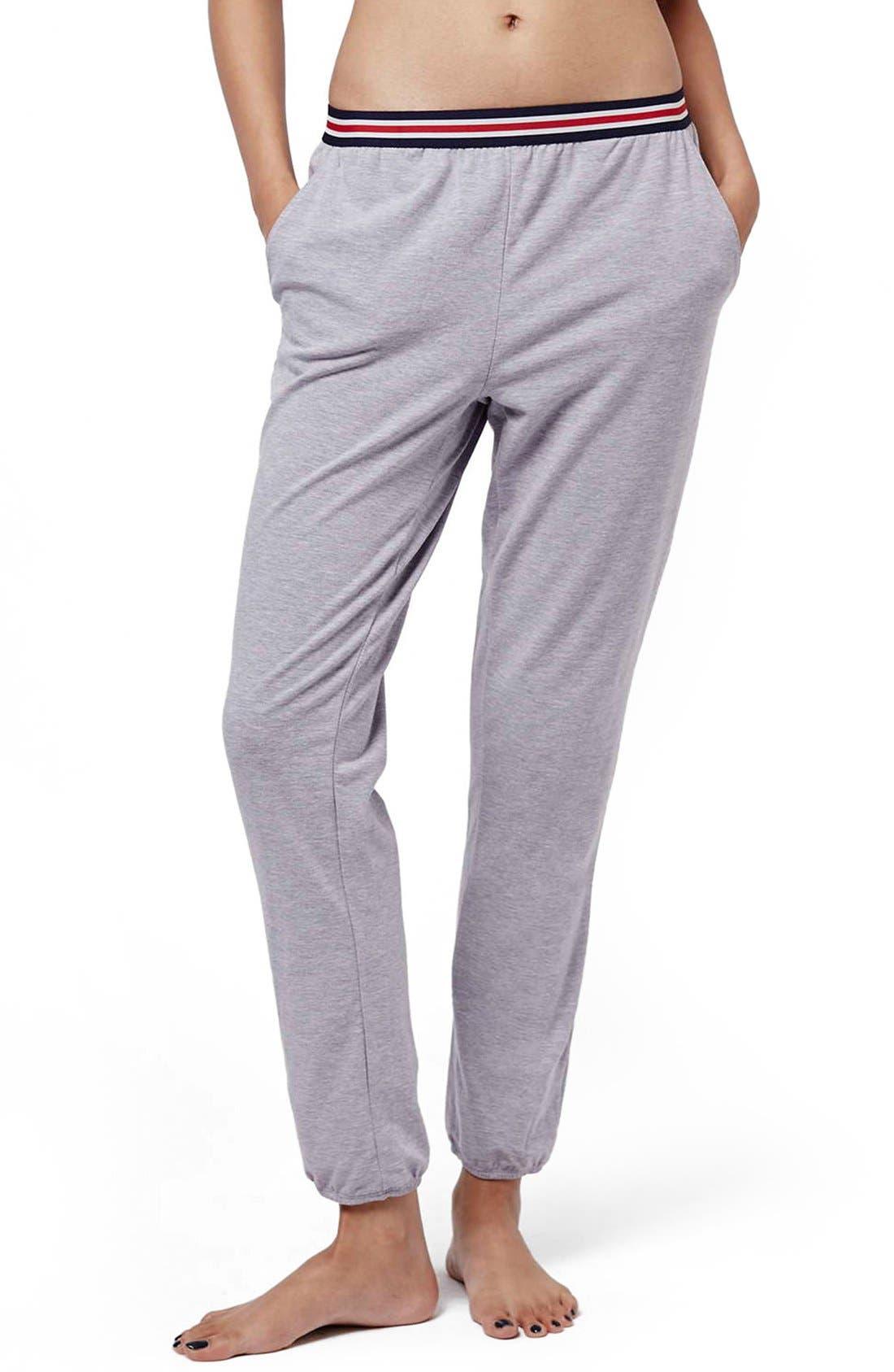 Alternate Image 1 Selected - Topshop 'Joni' Stripe Waist Sweatpants