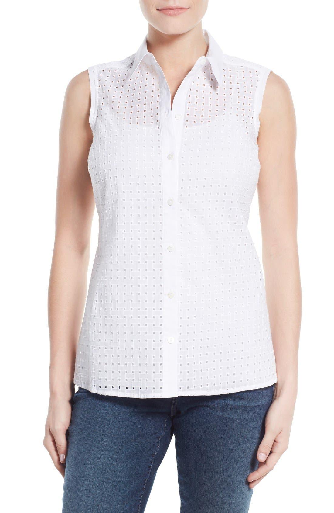 Main Image - Foxcroft Basket Weave Eyelet Sleeveless Shirt
