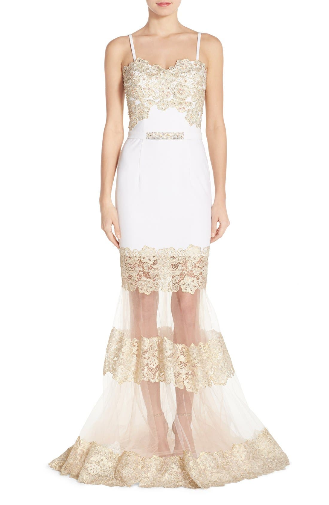 Alternate Image 1 Selected - Terani Couture Illusion Lace & Crepe Mermaid Gown