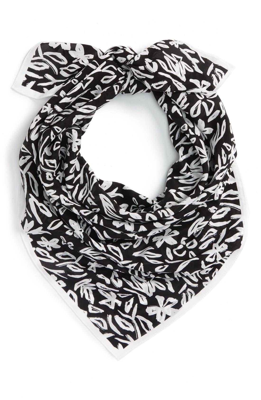 Main Image - Halogen® 'Floral Sketchbook' Square Sandwashed Silk Scarf