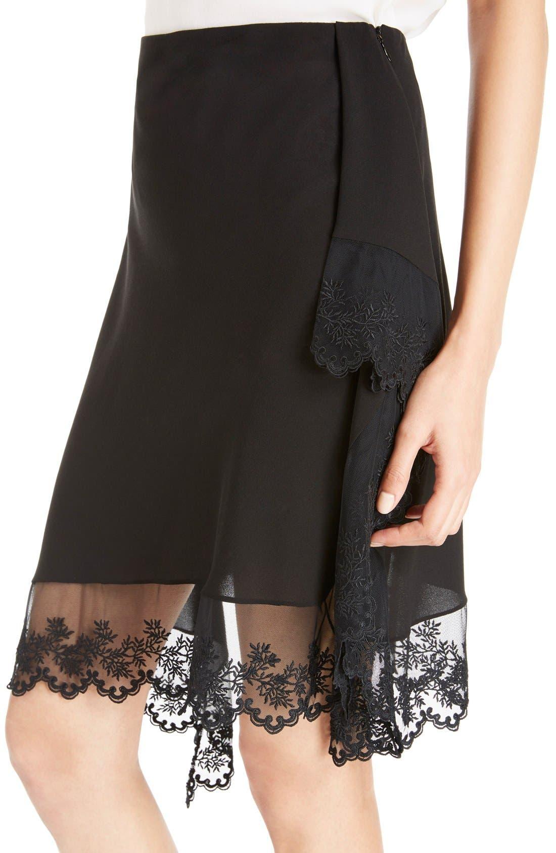 Alternate Image 5  - Givenchy Scalloped Lace & Silk Asymmetrical Skirt