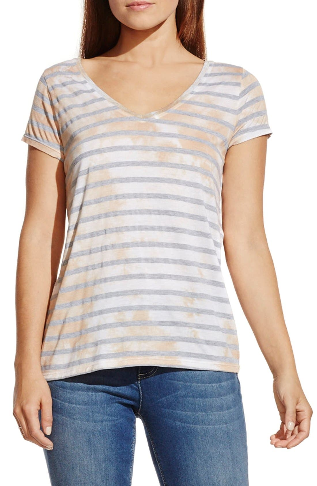 Alternate Image 1 Selected - Two by Vince Camuto 'Painterly Blotches' Stripe Tee