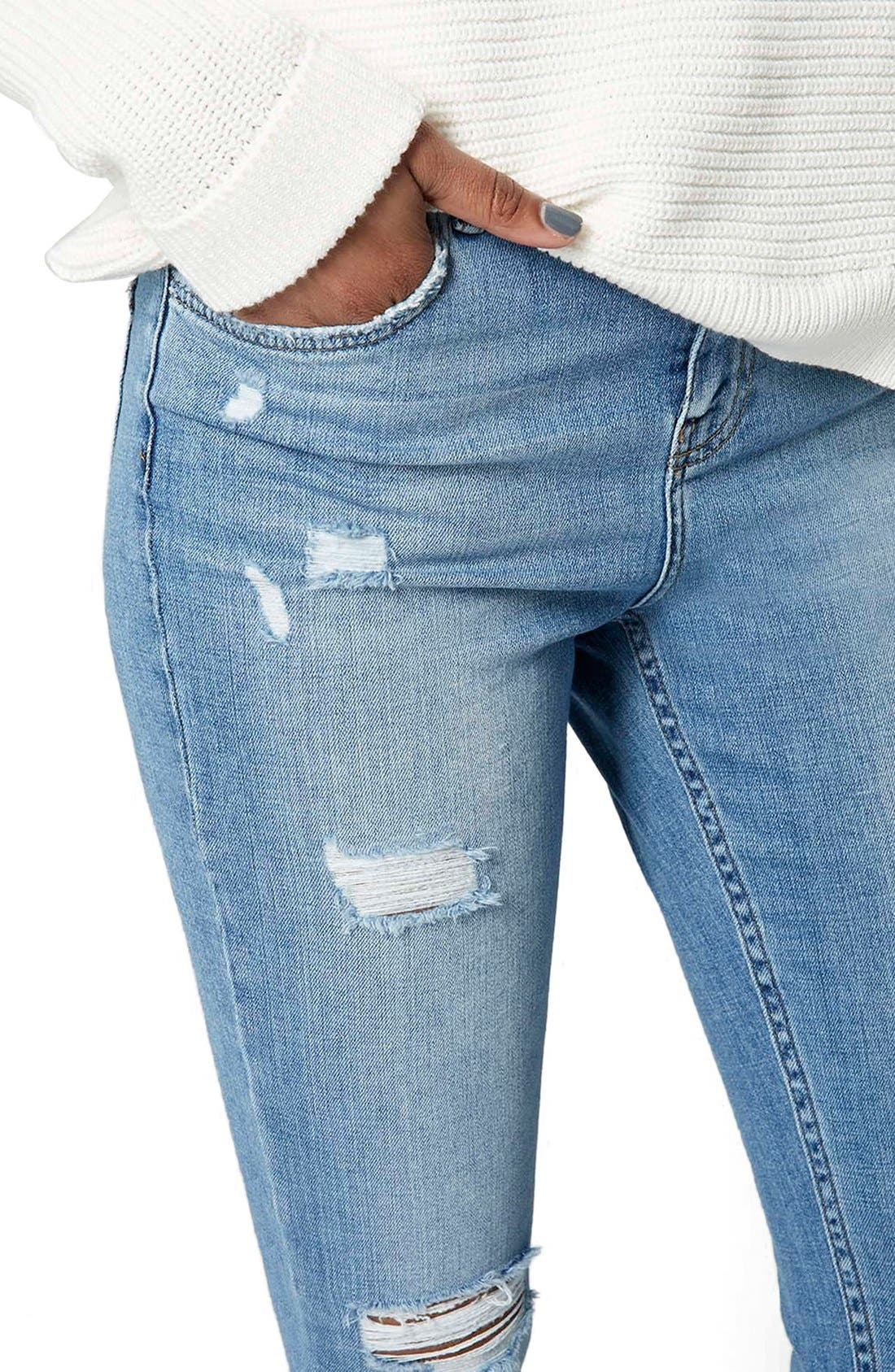 Alternate Image 5  - Topshop Moto Ripped Skinny Jeans (Tall)