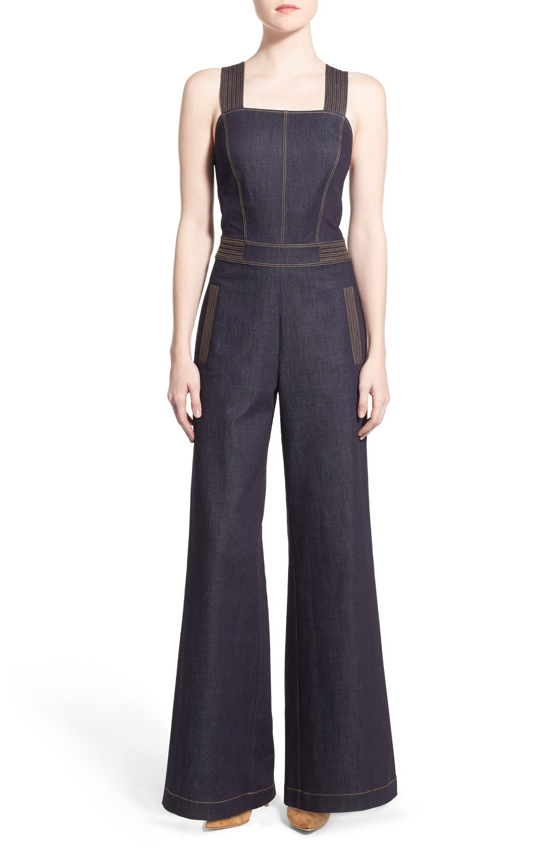 Alternate Image 1 Selected - Olivia Palermo + Chelsea28 Wide Leg Denim Jumpsuit