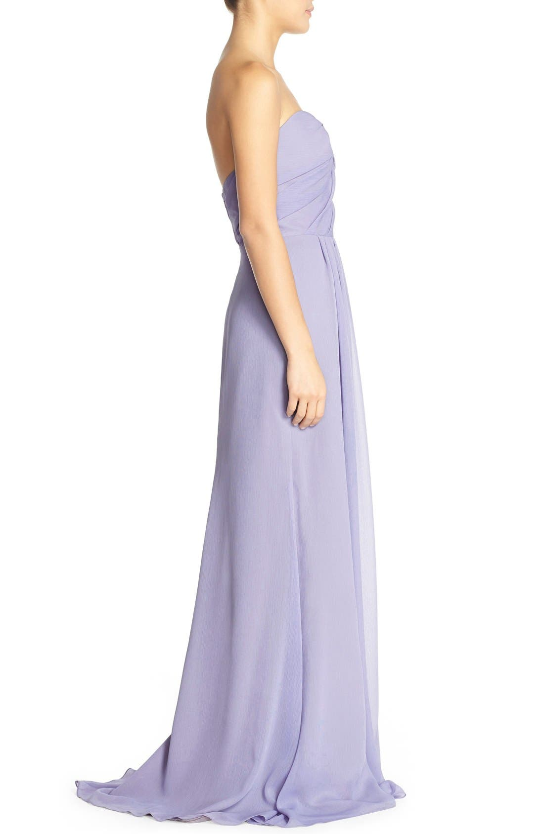 Alternate Image 3  - Hayley Paige Occasions Strapless Crinkle Chiffon A-Line Gown