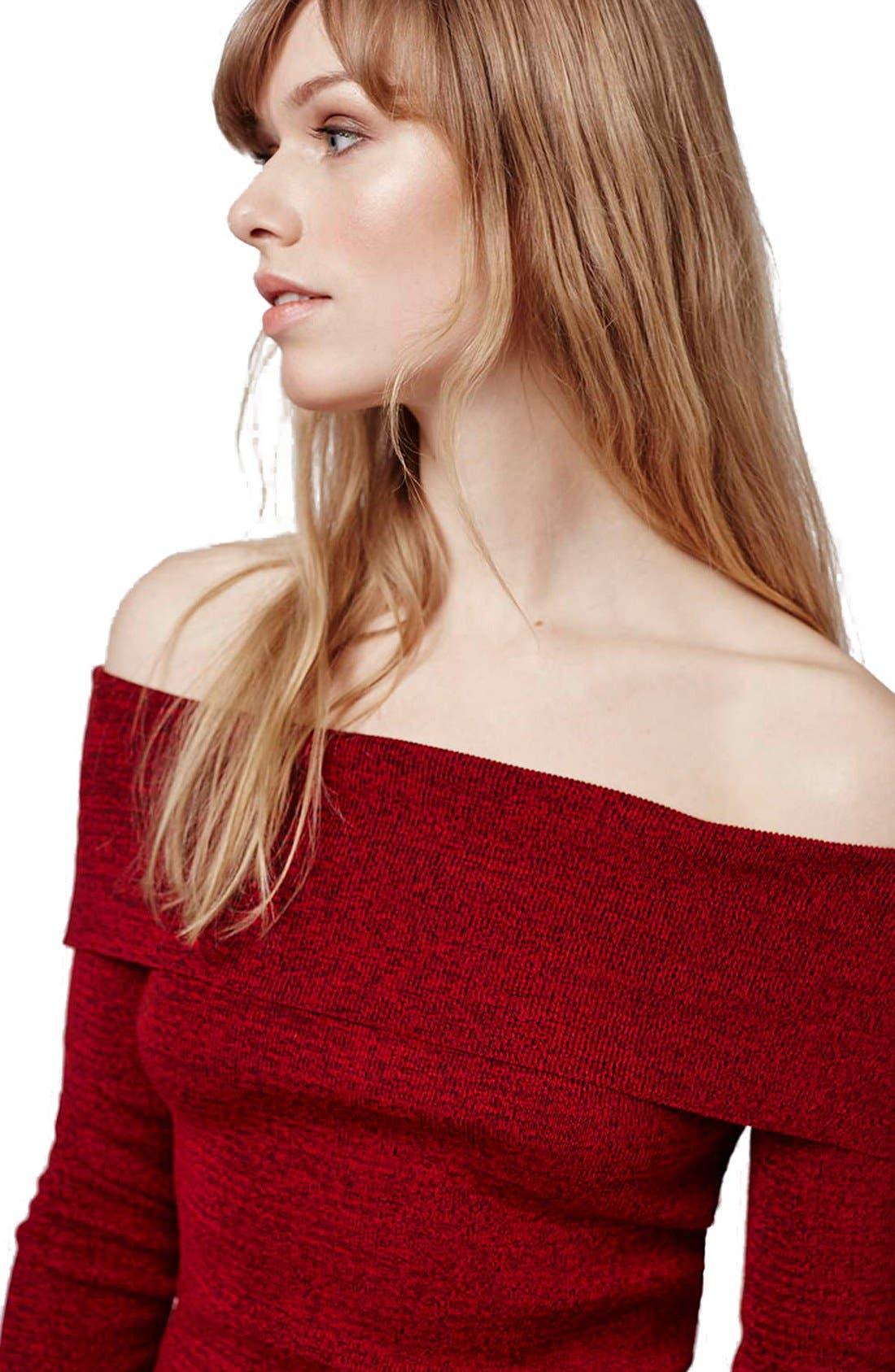 Alternate Image 5  - Topshop Off the Shoulder Long Sleeve Top