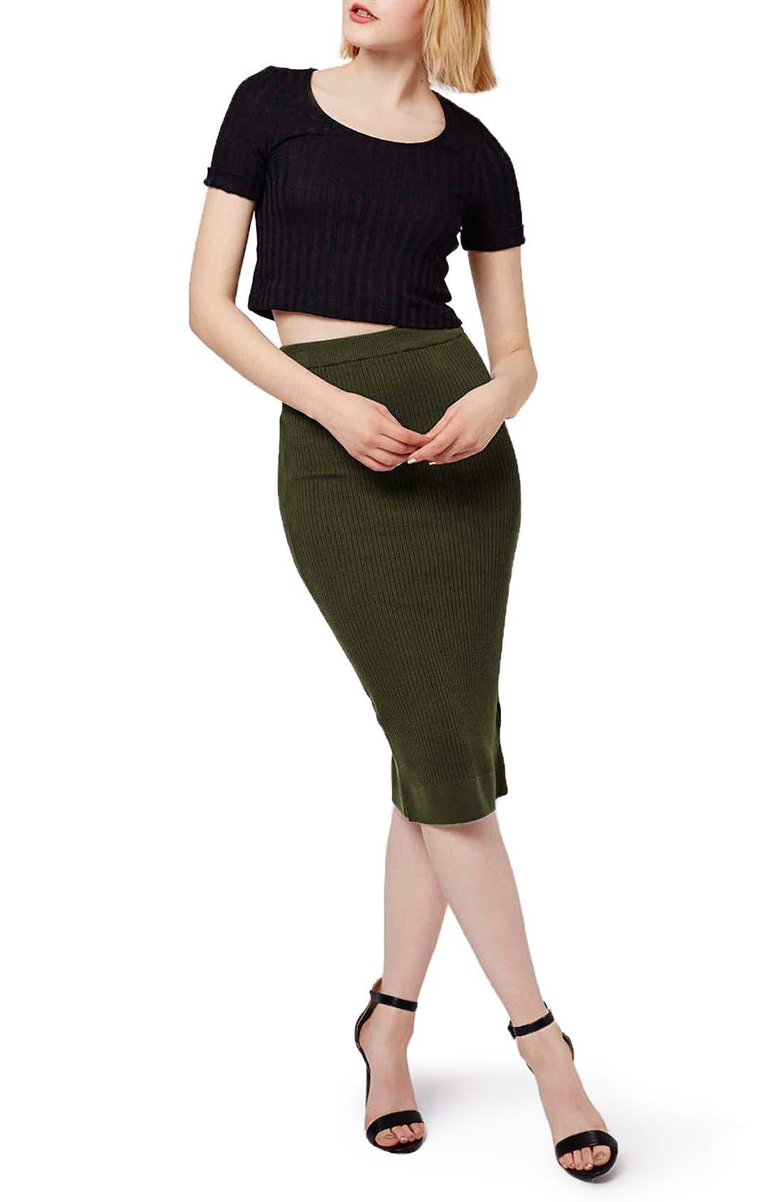 Alternate Image 2  - Topshop Ribbed Body-Con Midi Skirt