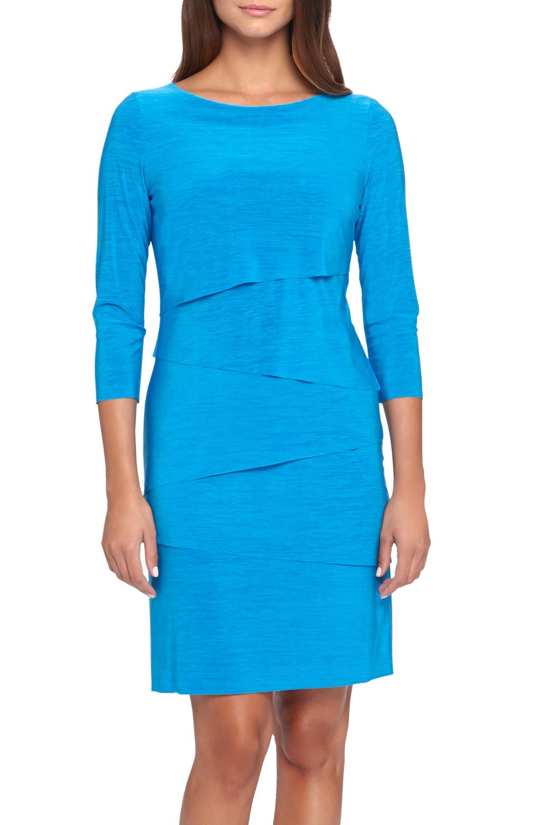 Main Image - Tahari Tiered Jersey Sheath Dress (Regular & Petite)