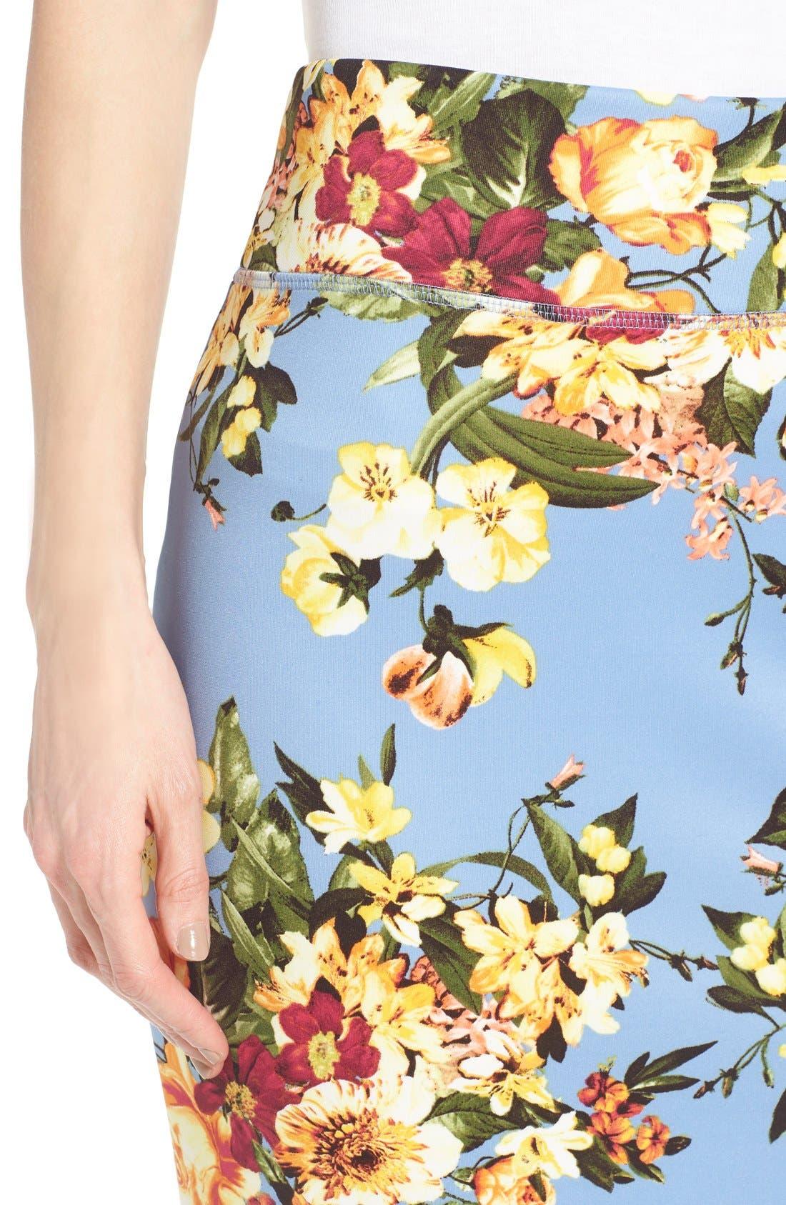 Alternate Image 4  - Bobeau Floral Print Pencil Skirt (Regular & Petite)