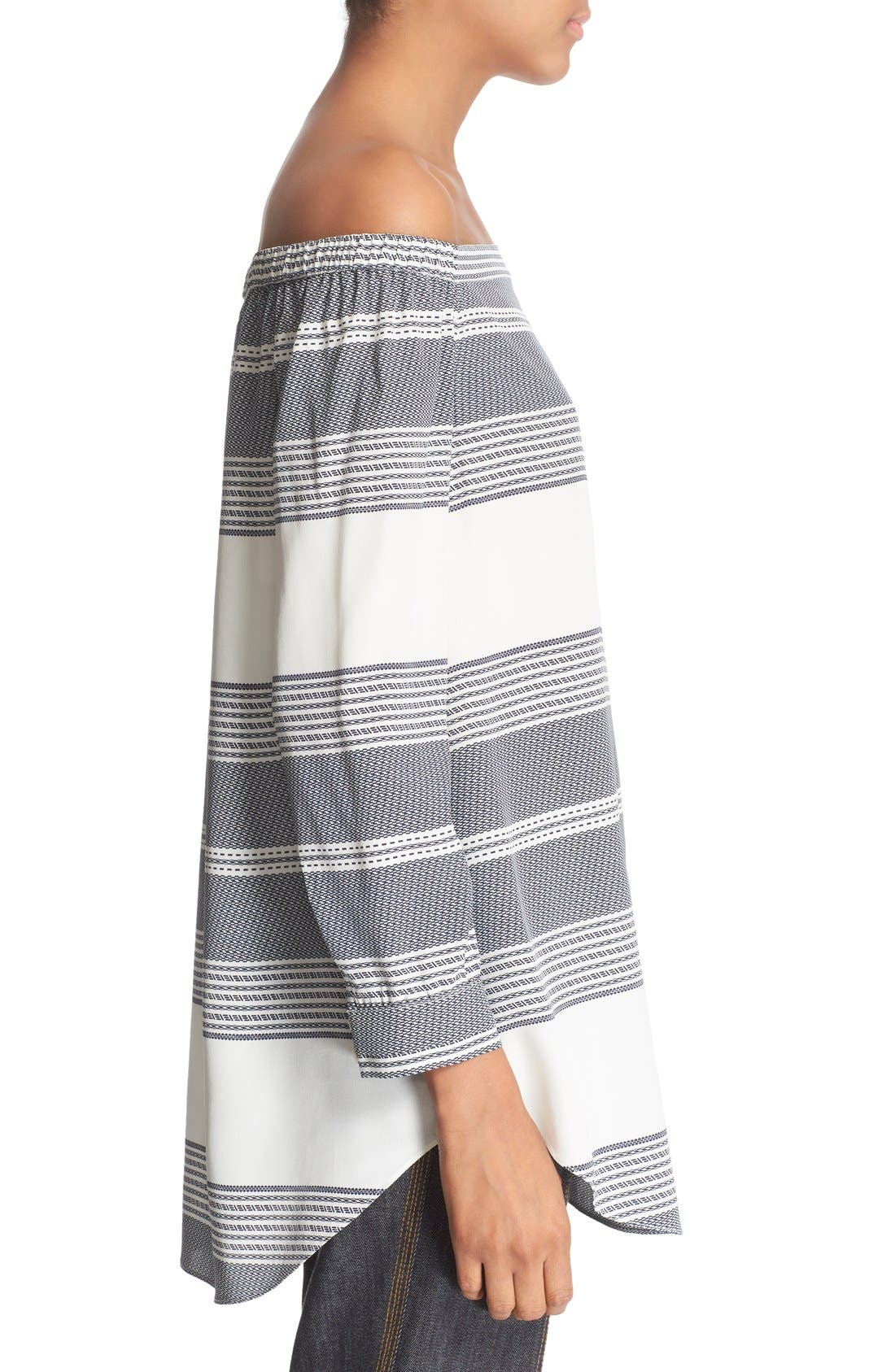 Alternate Image 3  - Derek Lam 10 Crosby Off the Shoulder Stripe Silk Top