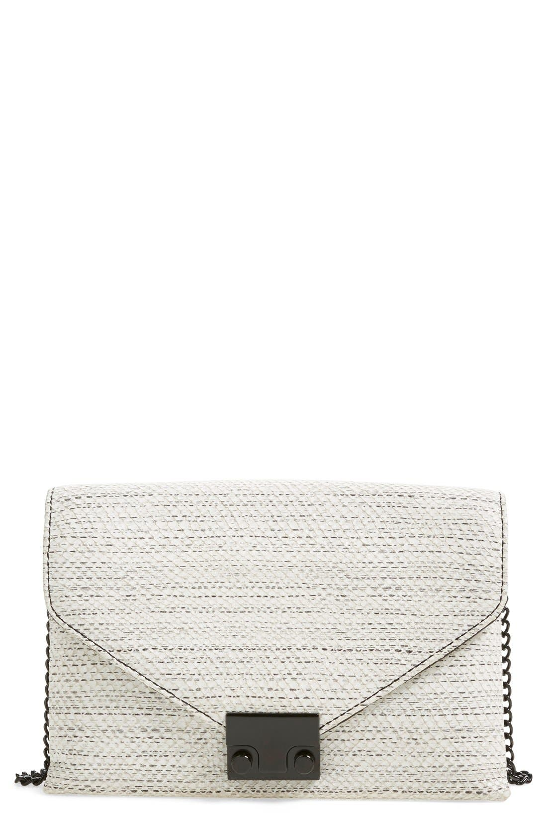 Alternate Image 1 Selected - Loeffler Randall 'Junior Lock' Leather Envelope Clutch
