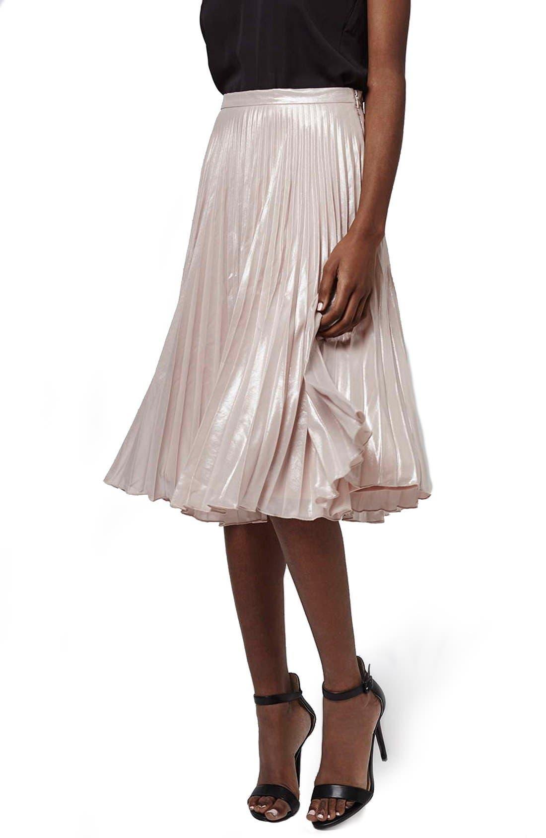 Main Image - Topshop Metallic Pleated Midi Skirt (Petite)