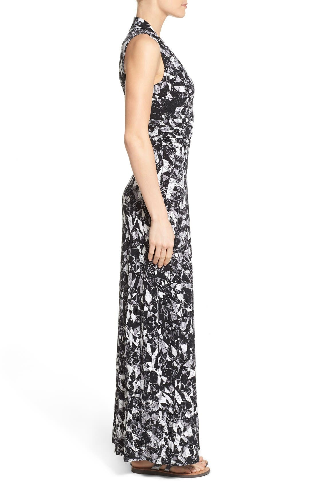 Alternate Image 3  - Vince Camuto Print Jersey Cutaway Shoulder Maxi Dress (Petite)