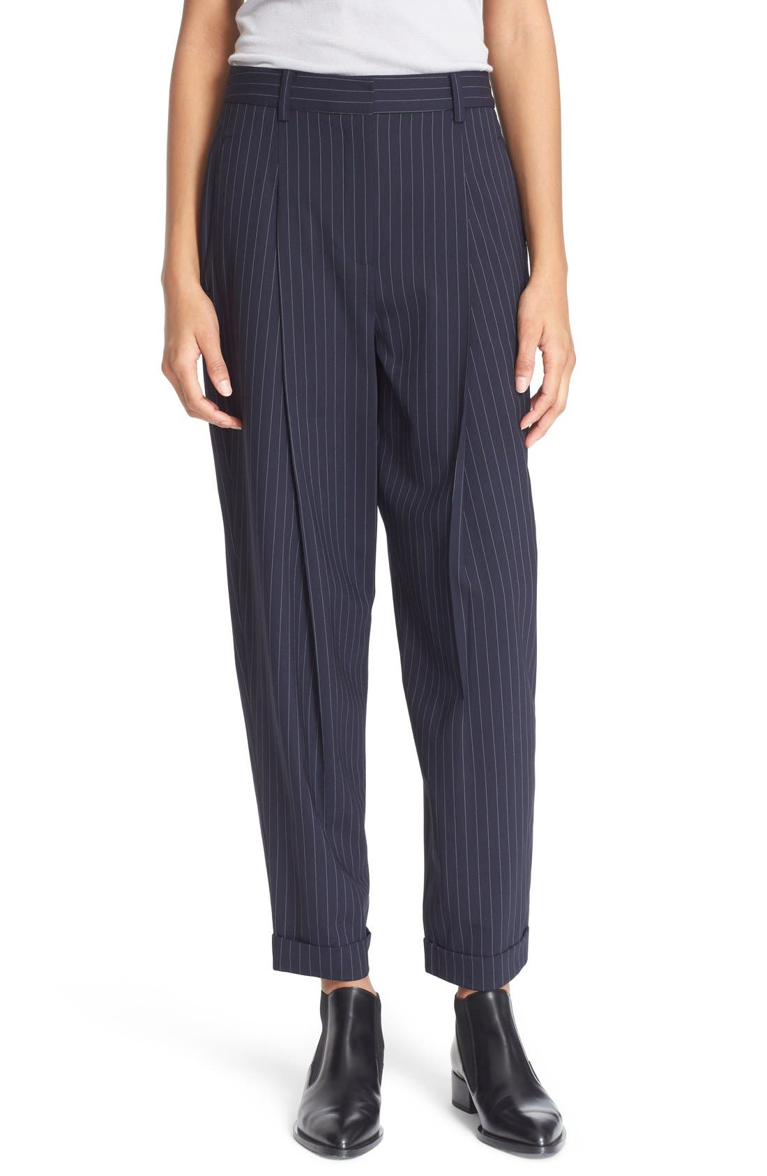 Main Image - DKNY Pinstripe Cuff Pants