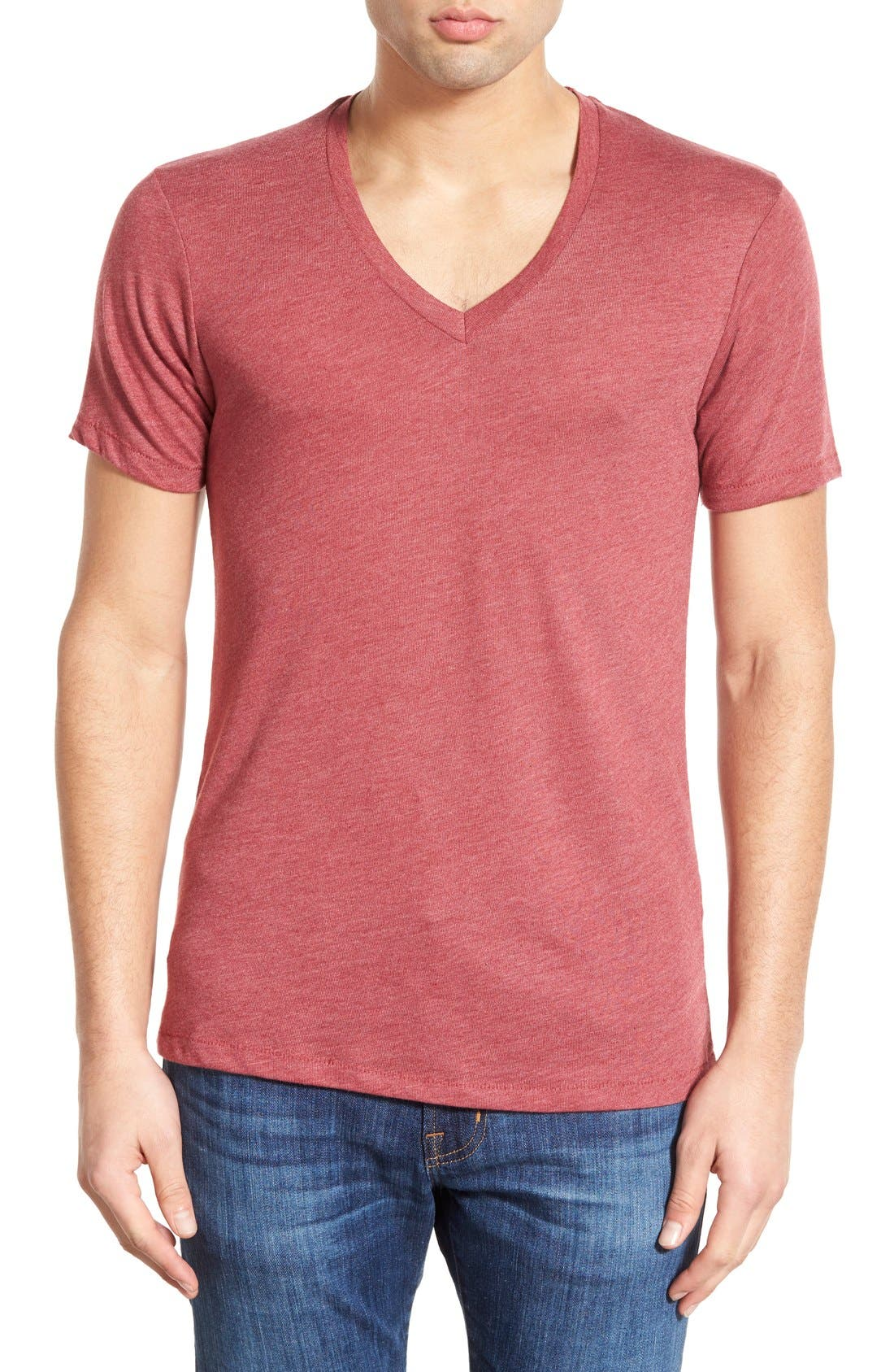 Main Image - Alternative Heathered Trim Fit V-Neck T-Shirt