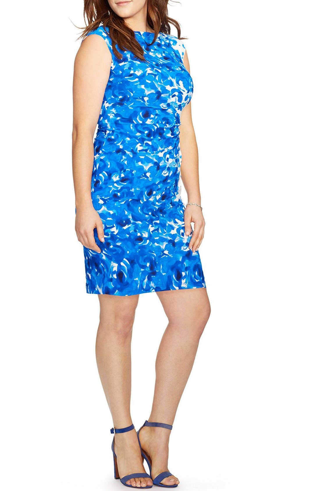 Lauren Ralph Lauren Floral Print Bateau Neck Jersey Sheath Dress (Plus Size)