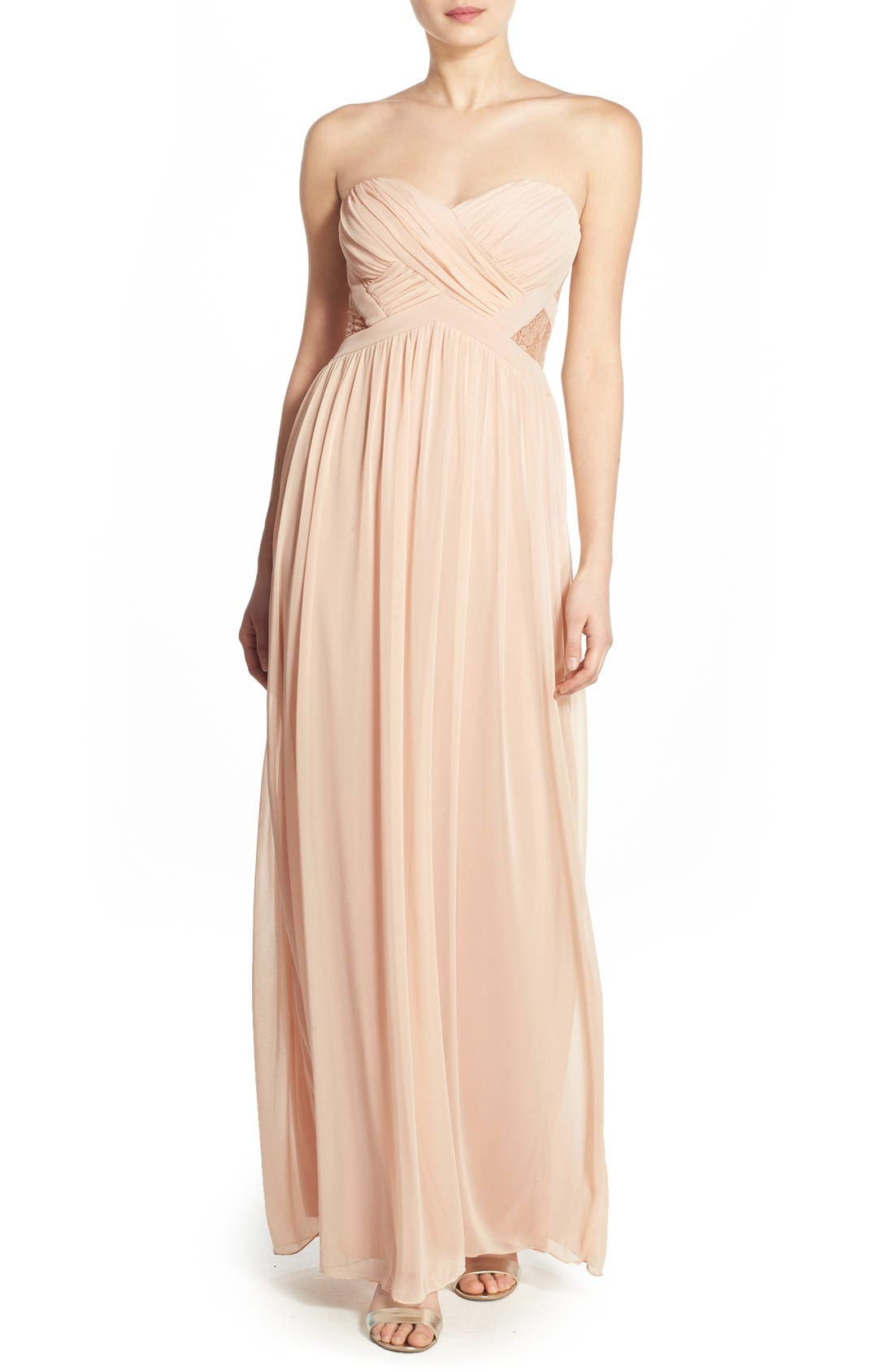 Main Image - Way-In 'Diana' Lace Inset Strapless Gown