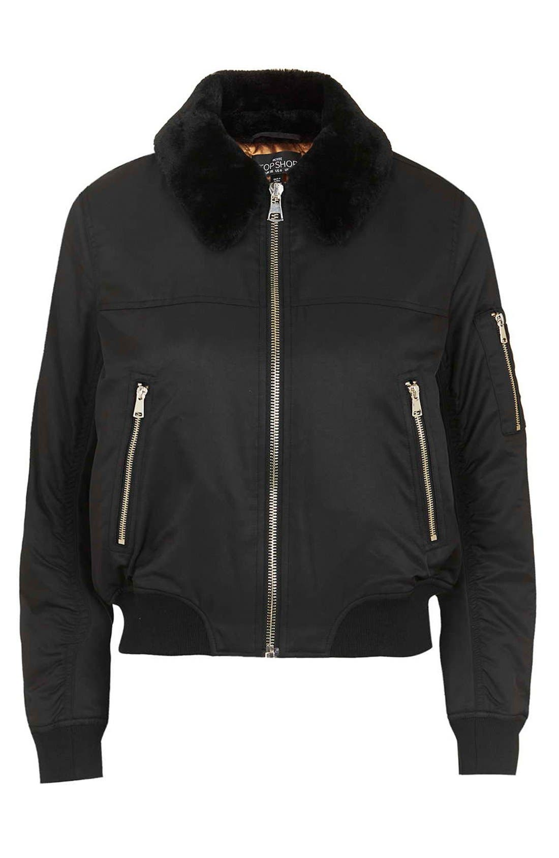 Alternate Image 4  - Topshop 'MA1' Bomber Jacket with Faux Fur Collar (Petite)