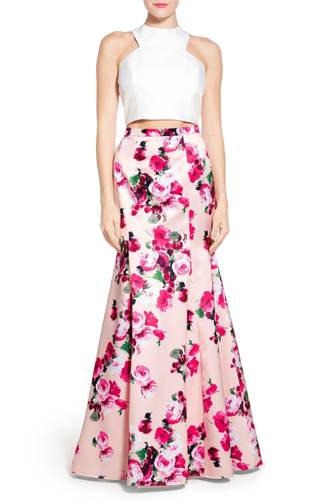 Main Image - Xscape Floral Satin Two-Piece Ballgown