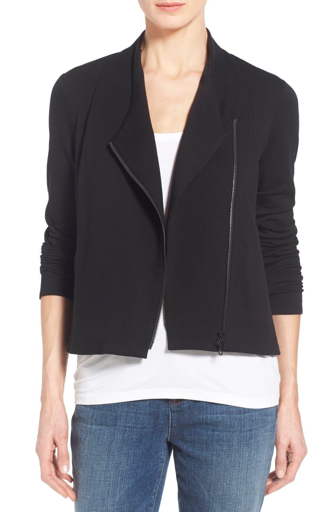 Main Image - Eileen Fisher Tencel® Jersey High Collar Jacket (Regular & Petite)
