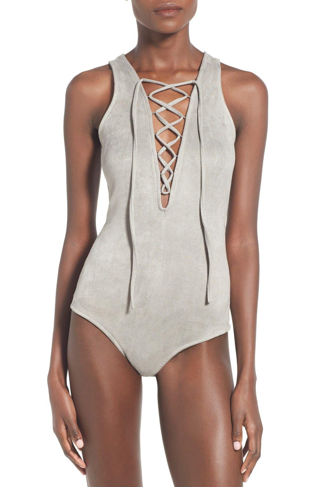 Alternate Image 5  - Glamorous Lace-Up Faux Suede Bodysuit