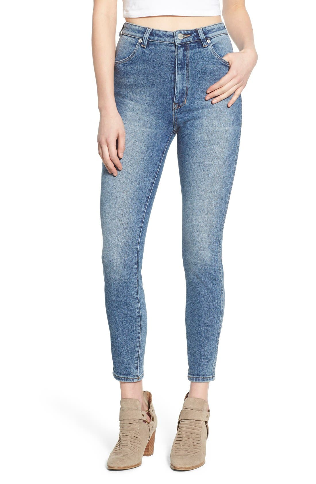 Alternate Image 1 Selected - Rolla's 'East Coast' High Rise Ankle Skinny Jeans (Folk Blue)