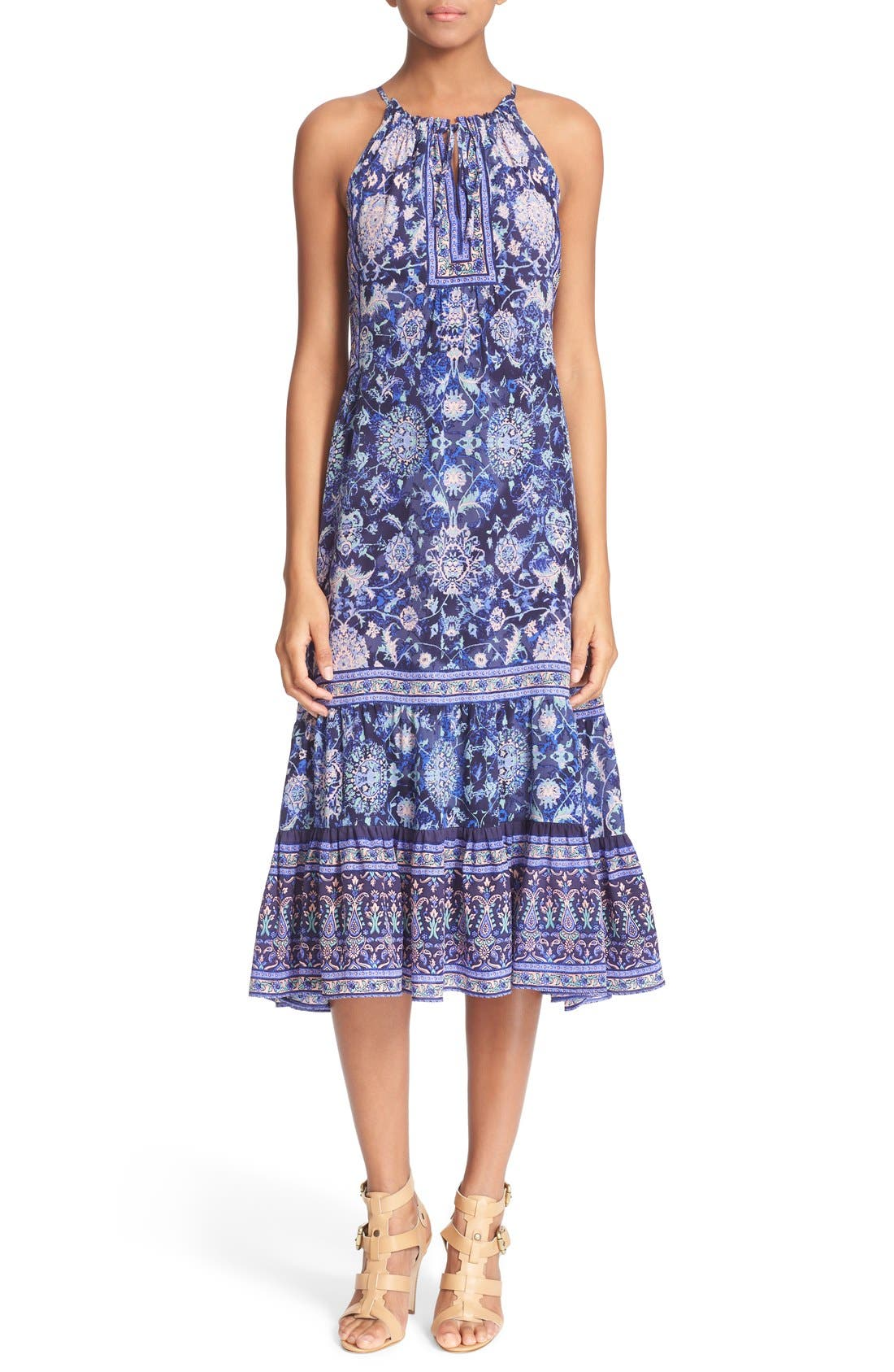 Alternate Image 1 Selected - Rebecca Taylor 'Dreamweaver' Print Silk Midi Dress